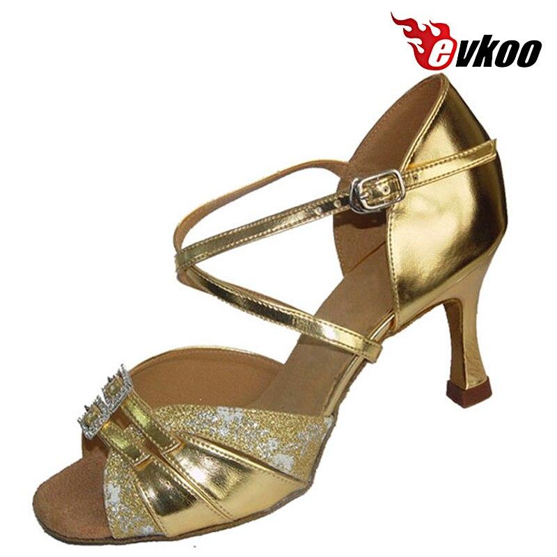 a3cce1742f30a Evkoodance Cinq Couleur Différente Pour Le Choix 7.3 cm Talon Satin Ou Pu  Avec Cristal Boucle Femmes Chaussures De Danse Latine Evkoo 235 dans  Chaussures de ...