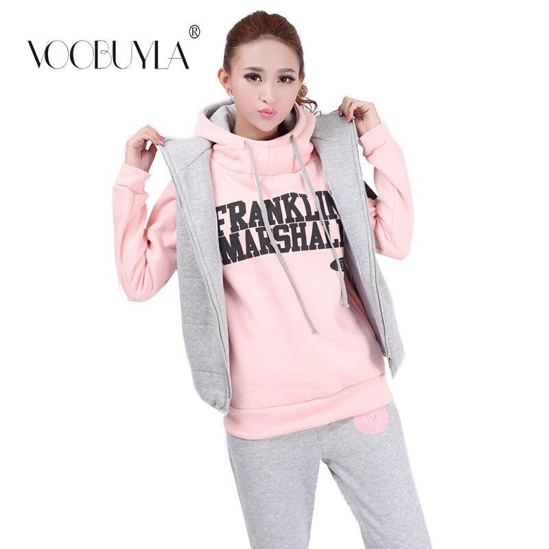 Voobuyla 3 Pieces Set Autumn Winter Women Running Set Hoodie Sweatshirt Vest Pants Fitness Yoga Running Suit Jogging Sport Suits