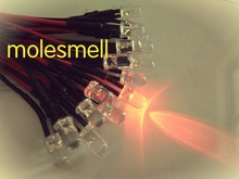 1000pcs 5mm 12v Red Water clear round LED Lamp Light Set Pre Wired 5mm red 12V DC PreWired led