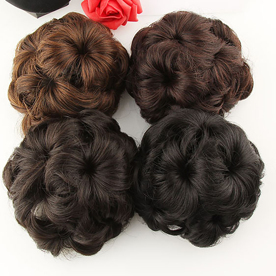 DIFEI High Temperature Fiber Women Chignon Hair Bun Donut Clip In Hairpiece 9 Flowers Roller Clip in Fake Hair Accessories ...