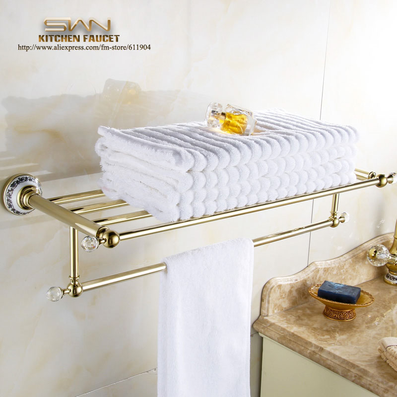 Brass Bathroom Bath Towel Rack Bar Towel Shelf  Gold Color Pattern Ceramic Chinese Style 3671901 hot selling high quality bathroom towel holder with ceramic base gold brass towel rack 60cm towel bar towel shelf