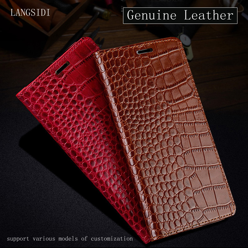 Leather book Flip Case for Samsung Galaxy A50 A70 s10 s20 A9 A8 2018 a51 a71 crocodile pattern Genuine Leather Cover kickstand