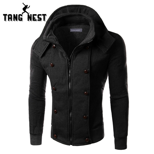 TANGNEST Autumn Hoodies Men 2017 Casual Slim Fit Fashion Men Sweatshirt Solid Color Zipper Stand Comfortable Hoodie Male MWW682