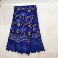 Wholesale And Retail High Quality African Lace Fabric With Stones And Beads Royal Blue Net Lace
