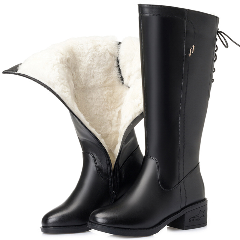 Brand knee high boots shoes woman natural 100% wool boots women shoes high quality genuine leather botas mujer invierno winter
