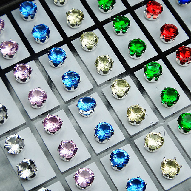 stud square colored cz ac basket multi round com peacock silver set sterling cut color dp princess rainbow earrings amazon