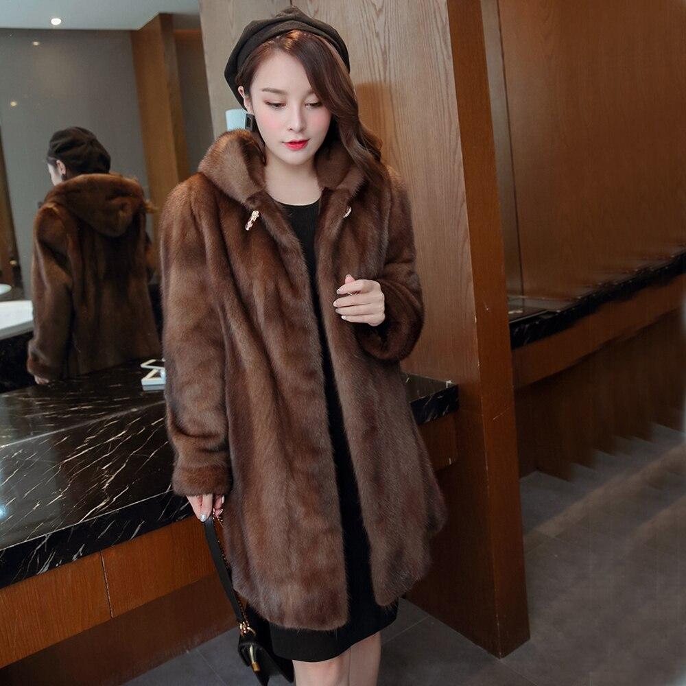Haute Veste Fourrure Capuchon Vison Color Manteau Femmes Hiver Chaud De À 100Naturel Qualité xerCBWdo