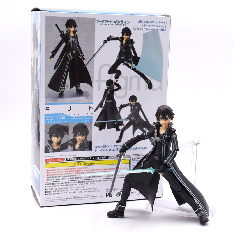 Anime Sword Art Online S.A.O Kirito Action Figure Toys 15cm Kirigaya Kazuto Figma 174 PVC Action Figure Collectible Model Toy new fashion sword art online cosplay bag sao kirigaya kazuto anime shoulder bag pu waterproof travel messenger bags