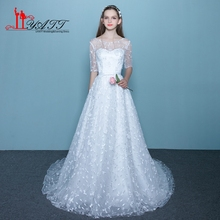 Stunning Wedding Dresses 2017 Vestido De Noiva Luxury French Tulle Lace Wedding Party Dress Bride Boat Neck Bridal Gowns ZY210