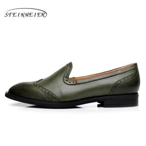 Image 3 - Yinzo Vrouwen Flats Oxford Schoenen Dame Echt Lederen Sneakers Dames Brogues Vintage Casual Schoenen Schoenen Voor Vrouwen Schoenen 2020