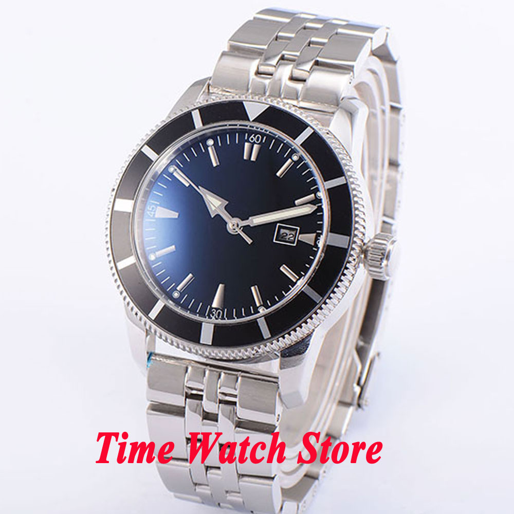 Bliger 46mm black sterial dial date window luminous Stainless steel band deployant clasp Automatic men's watch BL91 bliger 46mm white sterial dial date green bezel luminous black pvd case deployant clasp automatic men s watch 504