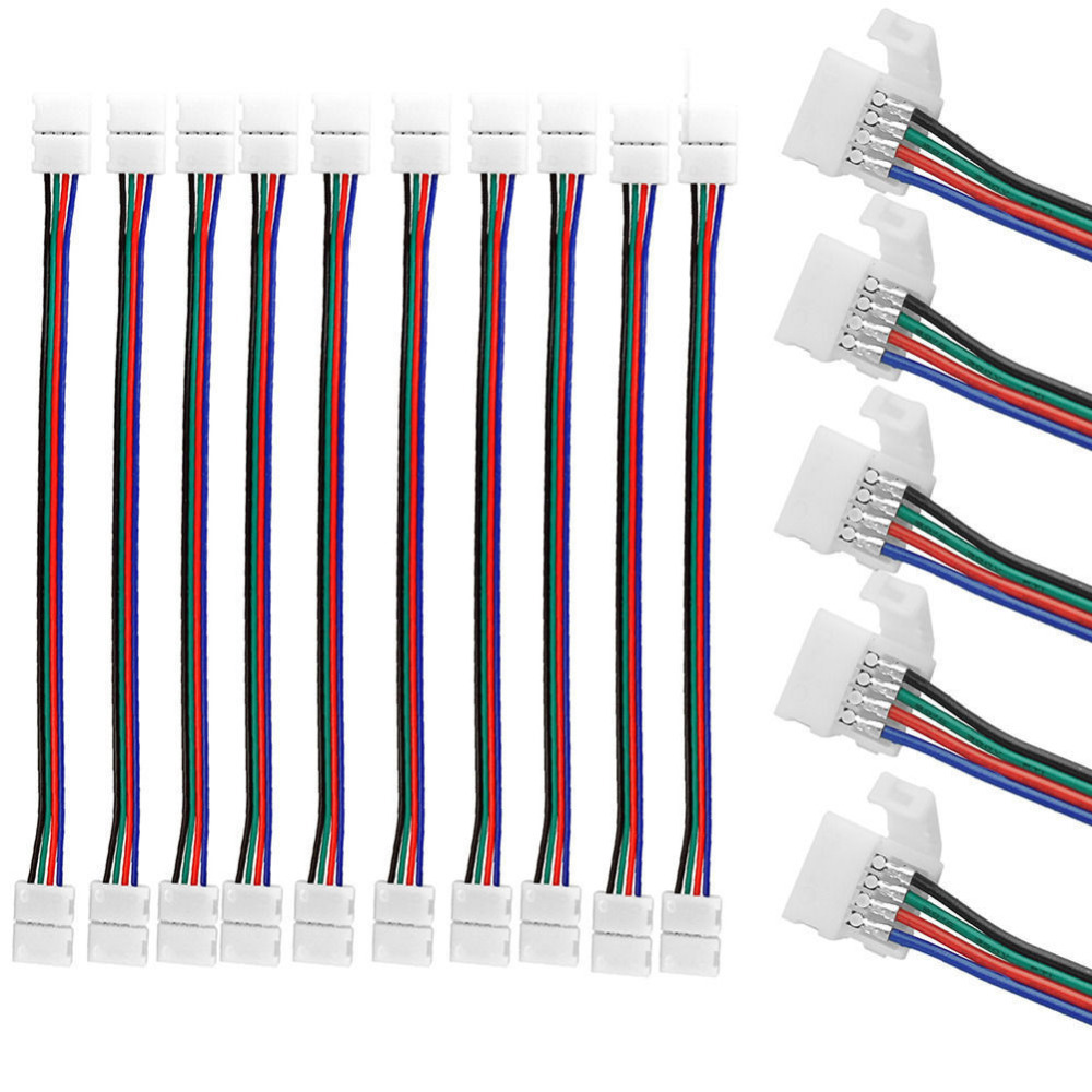 10mm <font><b>4</b></font> <font><b>Pin</b></font> led strip <font><b>connector</b></font> 5050 RGB RGBW LED Strip Light SM JST Male Female <font><b>Connector</b></font> Wire <font><b>Cable</b></font> image