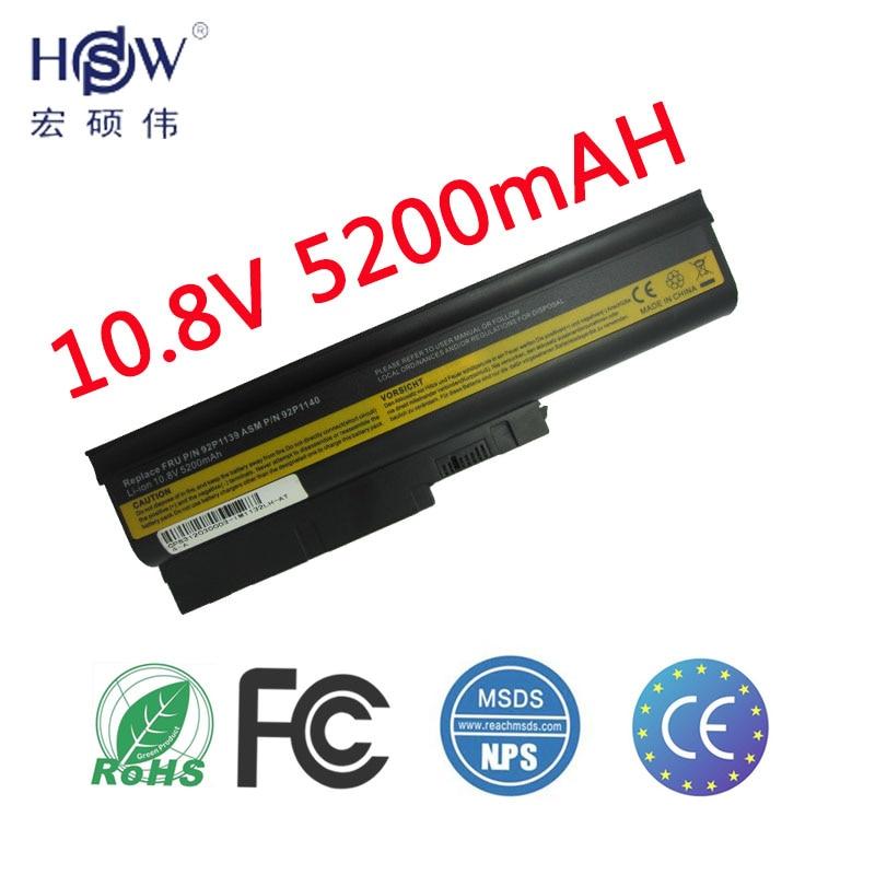 HSW laptop batteri för Lenovo t500 bärbar dator batteri till Lenovo T60 Sl500 T60p batteri för laptop W500 R500 batteri