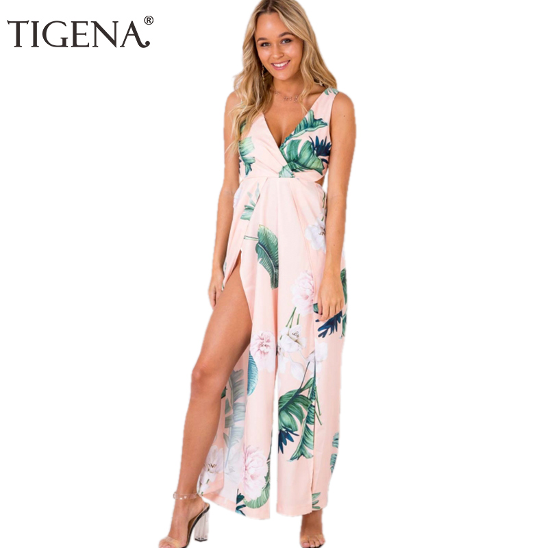 TIGENA Floral Print Bohemian beach Rompers Womens Jumpsuit 2018 Symmer Sexy V-neck Split Backless Overalls For Women Pink White