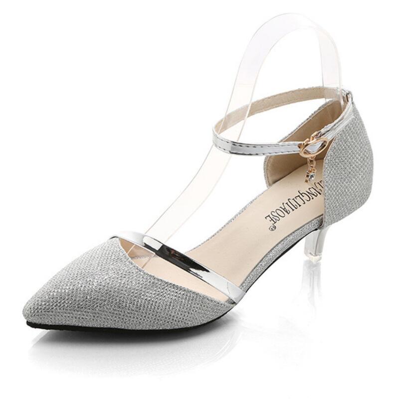 e86749ea480418 Marque Femmes Bout Concise Chaussures Lady Robe Doux Mariage Gold L'europe Pompes  Femme Parti De Office Talons ...