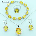 Reginababy Amarillo Superposición de colores Sistemas de La Joyería de Plata Para Las Mujeres Pulseras de Cristal de Circón Pendientes Anillo Collar Colgante