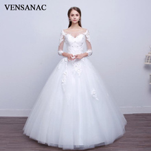 VENSANAC 2018 Illusion O Neck Crystal Flowers Ball Gown Wedding Dresses Lace Appliques Sleeve Backless Bridal Gowns