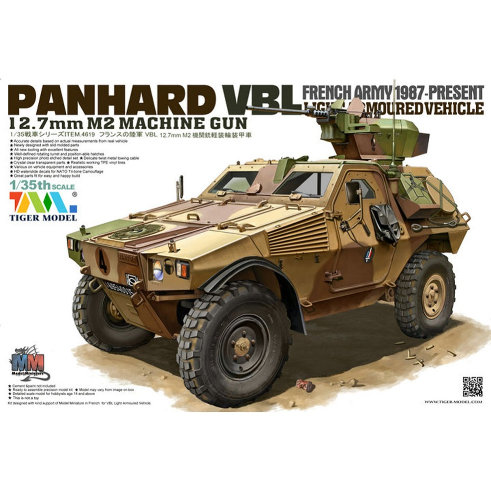 OHS Tiger Model 4619 1/35 Panhard VBL 12.7mm M2 Machine Gun AFV Assembly Model Building Kits oh 1 35 assembly model e 100 frederick scher type containing metal gun turret