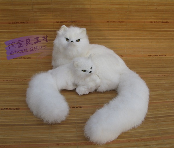 new creative simulation fox toy polyethylene&fur white fox mother&baby model gift about 23x19x15cm 1634 creative simulation comadreja toy polyethylene