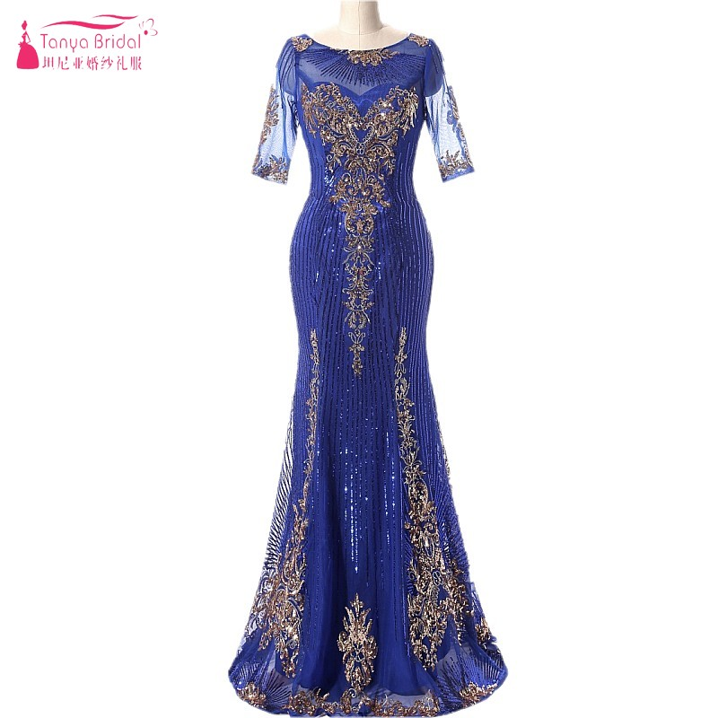 Mermaid Long   Evening     Dresses   With Sequins Royal Blue Gold Sequins Three Quarter Contrast Color Formal   Evening   Gown Prom DQG166