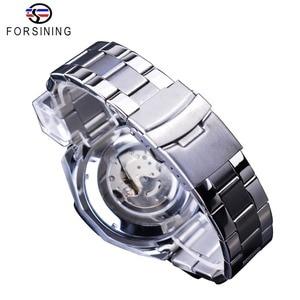 Image 5 - Forsining Blue Ocean Design Silver Steel 3 Dial Calendar Display Mens Automatic Mechanical Sport Wrist Watches Top Brand Luxury
