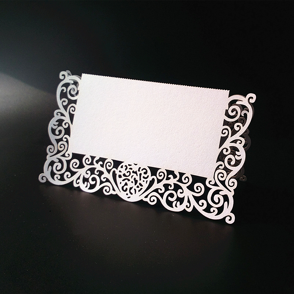 50pcs Laser Cut Luxury Lace Table Name Place Card Recycled Paper For ...