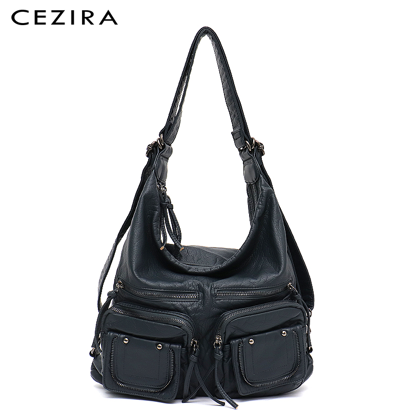 CEZIRA Large Soft Casual Women Bags Functional Girl School Backpack PU Leather Bag Ladies Multi Pockets Messenger&Shoulder Bag