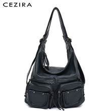 CEZIRA Large Soft Casual Women Bags Functional Girl School Backpack PU Leather Bag Ladies Multi Pockets Messenger&Shoulder Bag(China)