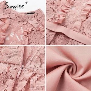Image 5 - Simplee אלגנטי תחרה ארוך שמלת נשים בתוספת גודל ארוך שרוול רשת חלול החוצה מקסי שמלת סתיו נשי רקום המפלגה vestidos
