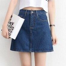 Mujeres Mini Denim Falda 2018 Primavera Verano alta cintura más tamaño  Jeans faldas para mujer chica e1ef6770b2b1