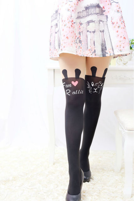 Totoro Cat Tail Patchwork Tattoo Pantyhose