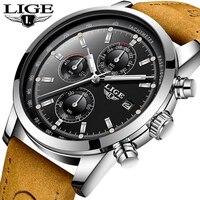 LIGE Watch Men Sports Military Quartz Clock Mens Watches Top Brand Luxury Waterproof Leather Chronograph Watch Relogio Masculino