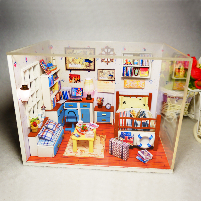 Diy 3d Wooden Building Dollhouse Miniature Assemble Puzzl Kits With Funitures Toys For Mm/gg Festival Handmade Creative Gifts 100% High Quality Materials Model Building Architecture/diy House/mininatures