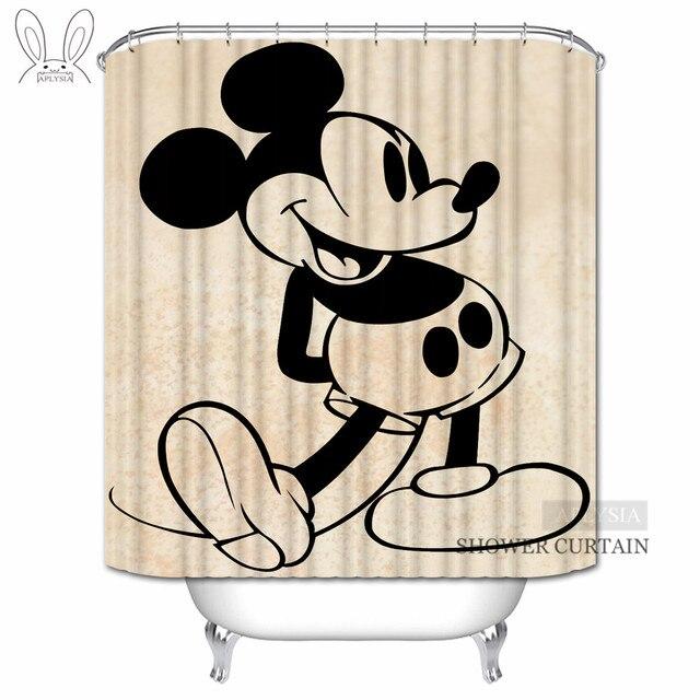 Aplysia Vintage Mickey Mouse Cartoon Seri Waterproof Mildew Shower Curtain Customized Home Decors Bathroom Curtains 160x180cm