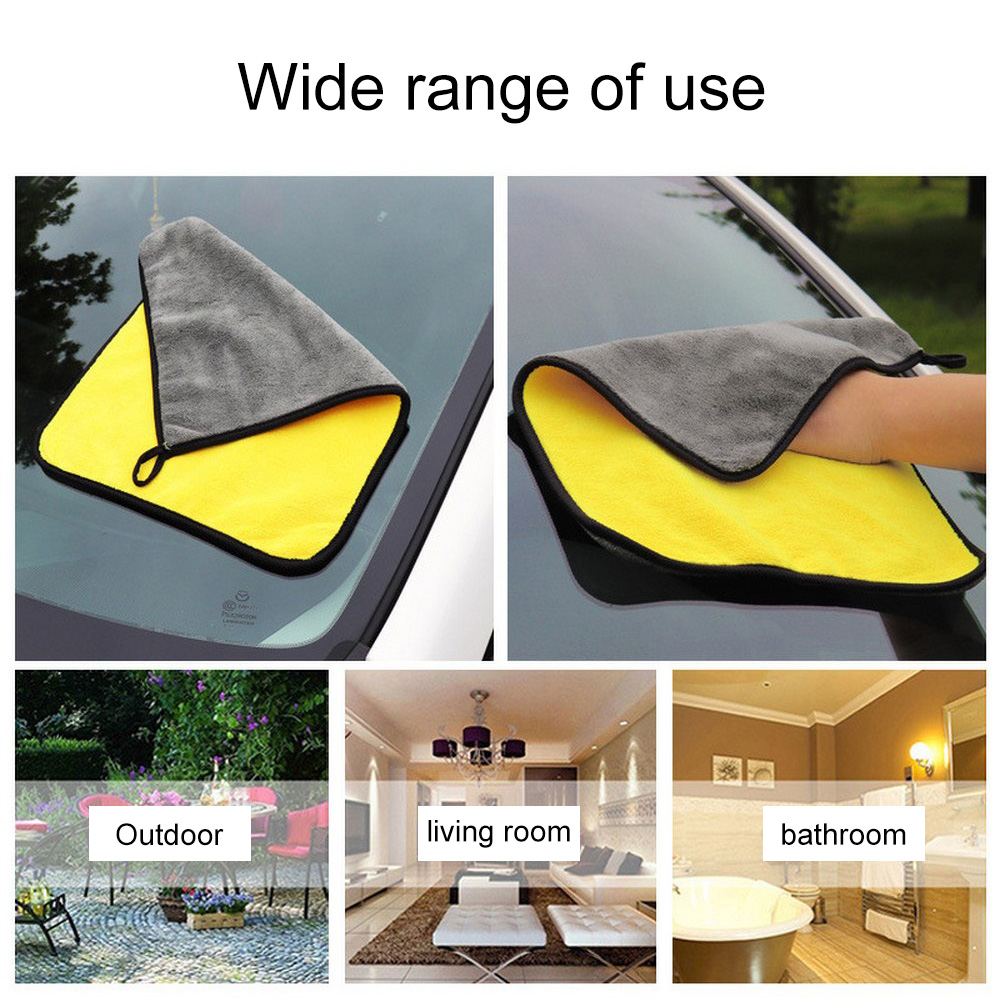 Image 4 - 30*30/60CM Car Wash Towel Microfiber yellow gray sides Cleaning Drying Towe Coral velvet double sided designCar Wash Towel-in Sponges, Cloths & Brushes from Automobiles & Motorcycles