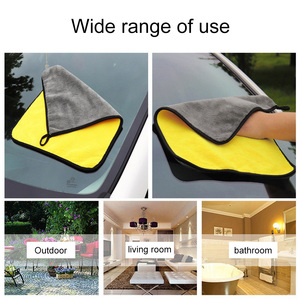 Image 4 - 30*30/60CM Car Wash Towel Microfiber yellow gray sides Cleaning Drying Towe Coral velvet double sided designCar Wash Towel