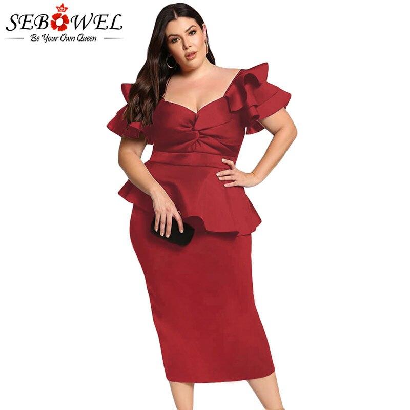 SEBOWEL Plus Size Peplum Formal Midi Dress Woman XXXL 4XL 5XL Ladies Party Bodycon Tiered Sleeve