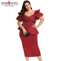 034052da9fa9ea SEBOWEL Plus Size Peplum Formal Midi Dress Woman XXXL 4XL 5XL Ladies Party  Bodycon Tiered Sleeve