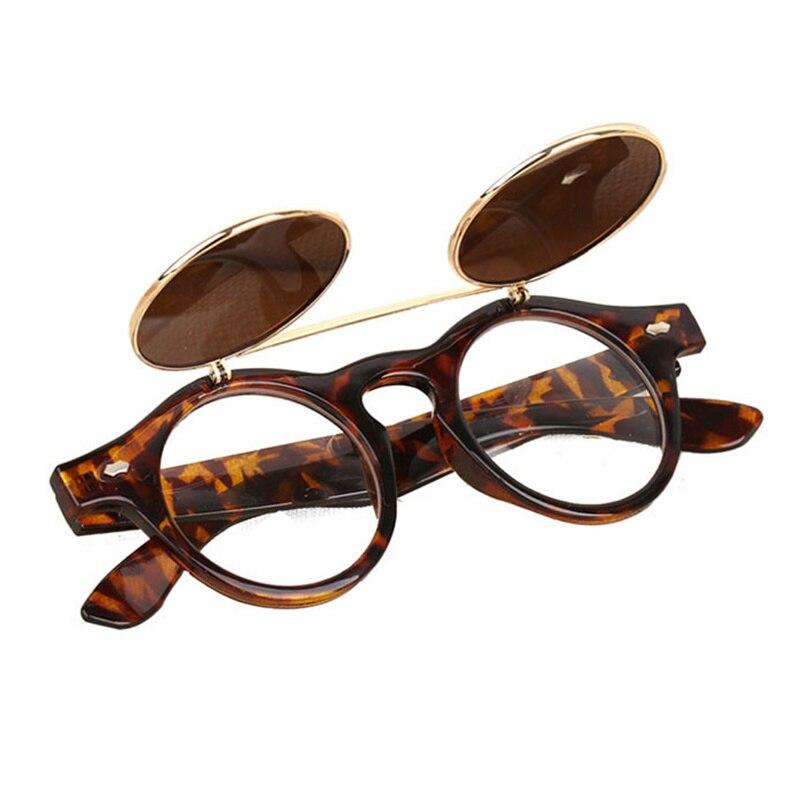Hot Sale Steampunk Goth Glasses Goggles Round Flip Up Sunglasses Women Men Retro Vintage Fashion Eyewear Oculos de sol MAY2