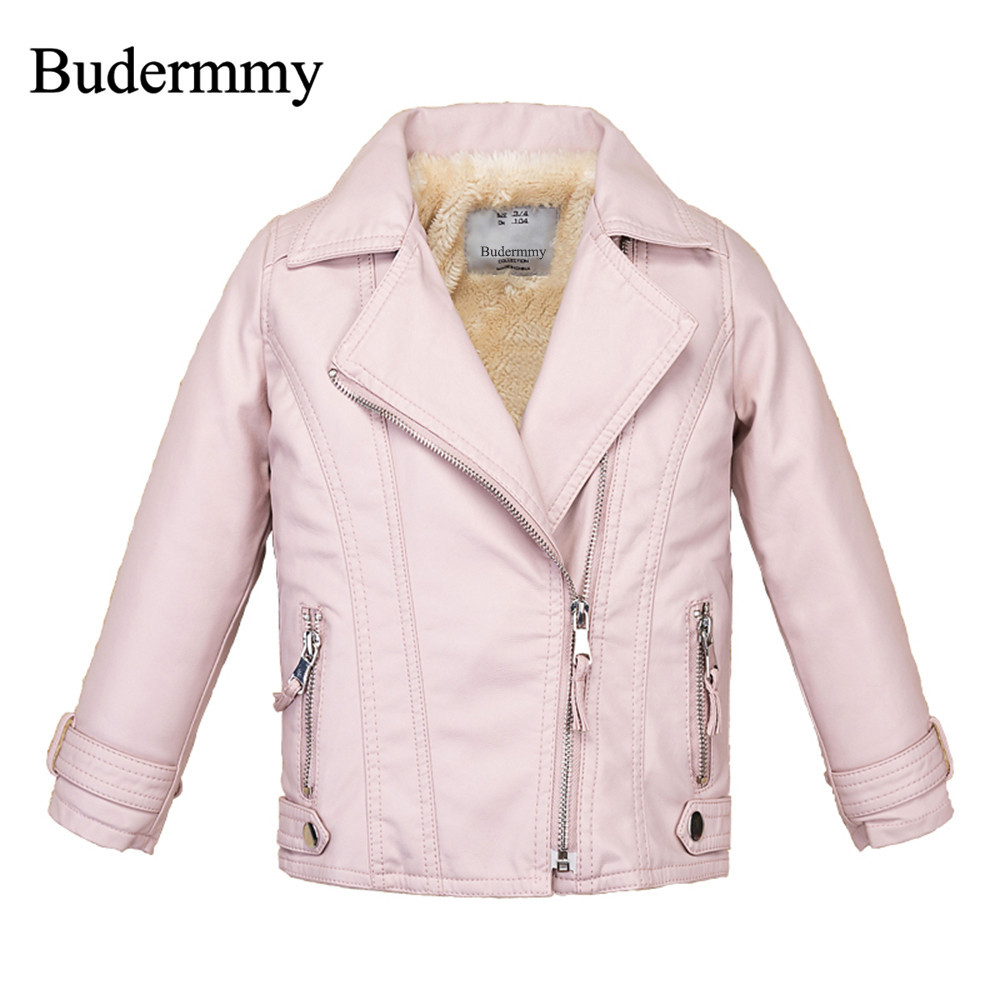 Boy and Girl Jackets Pink Black Casual Leather Jacket 2017 New Style Winter Thicken Coats for