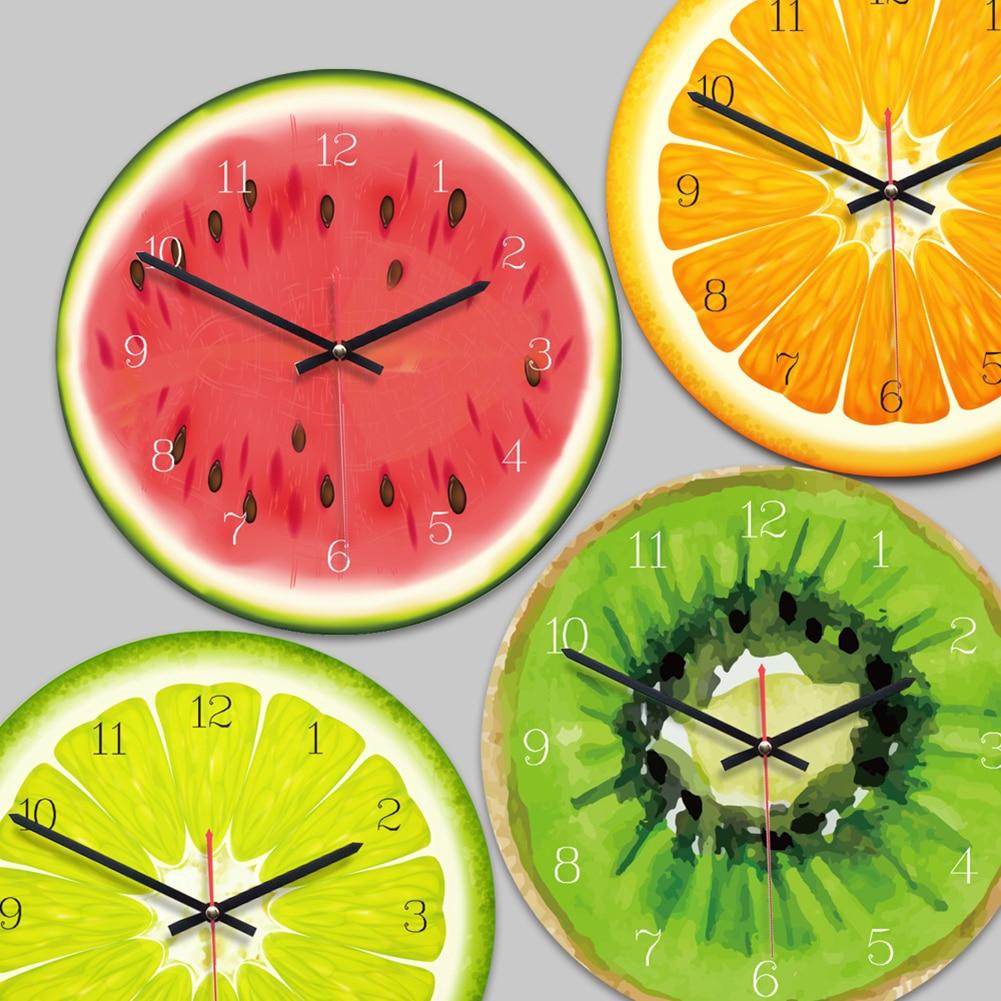 Creative Fruit Wall Clock Lime Modern Kitchen Lemon Clock Watch Home Decor Living Room Clock Tropical Fruit Wall Art Timepieces