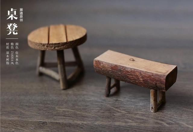 Legno naturale tavolo sgabello piccolo mini rettangolo arrotondato