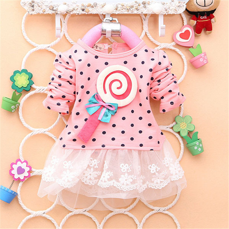 2017 Newest Autumn Spring Kids Sweater Greatly Lollipop Full Version Dot Girls T-shirt Stitching Baby Girls lace Dresses H75