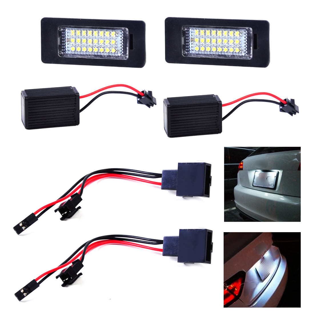 DWCX White Error Free 24 LED 6000K License Plate Light Lamp 8E0943021B 8E0943025B for Audi A4 A5 Q5 TT Quattro 2010 2011 2012 2x e marked obc error free 24 led white license number plate light lamp for bmw e81 e82 e90 e91 e92 e93 e60 e61 e39 x1 e84