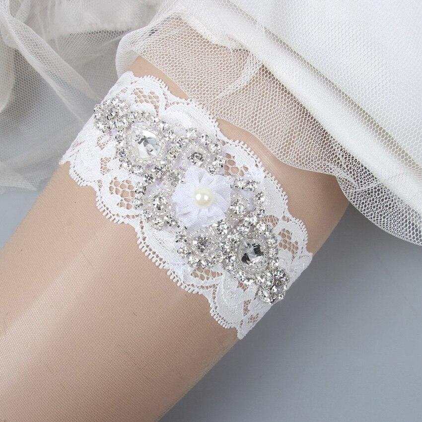 Rustic Lace Wedding Garter Sets Belt Bridal Set Crystal