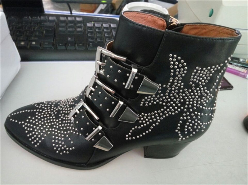 Fashion Punk Style Motorcycle Boots Susanna Studded Buckle Ankle Boots With Metal Decor Rivet Women Booties - 5