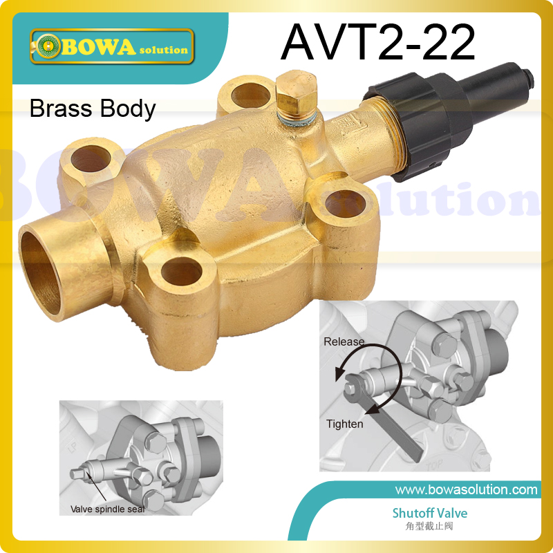 Brass body angle shutoff valve with oval flange connnection suitable for mobile commerce air conditioner and refrigeration aluminium shutoff valve as suction valve of fk20 fk30 and fkx open type compressors for mobile refrigeration and air condtioner