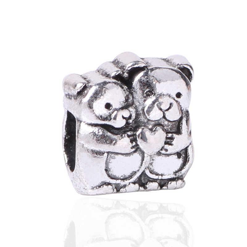 จัดส่งฟรีใหม่ 1PC Silver สีลูกปัด Charm น่ารักหมีคู่หนึ่ง BEAD Fit สร้อยข้อมือ PANDORA และกำไลข้อมือสร้อยคอผู้หญิงเครื่องประดับ