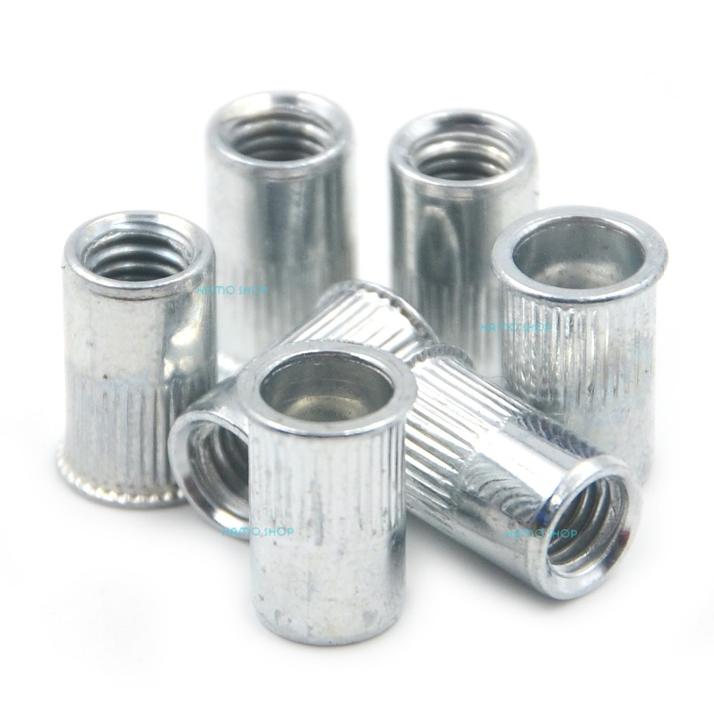 100pcs M5 Rivet Nut Normal Head Nutserts Blind Insert Rivnut Steel Threaded Multi stainless steel nylon insert hex lock nut 4 40 qty 2500