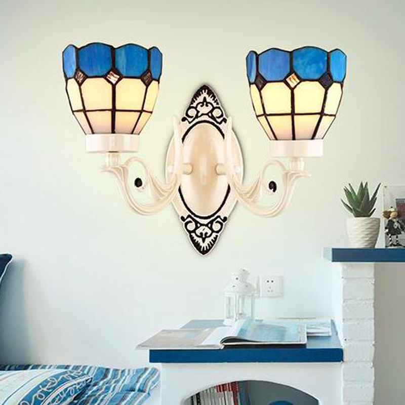 Nordic Style Tiffany Stained Glass Single Head & Double Head LED Wall Lamps Wall Lamps E27 AC 90-260V lustre light wall lighting tiffany baroque sunflower stained glass iron mermaid wall lamp indoor bedside lamps wall lights for home ac 110v 220v e27